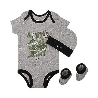 Nike Bodysuit Hat   Booties 3 Piece Gift Set Baby Boys Black Camo Size 0- c760b416bd40