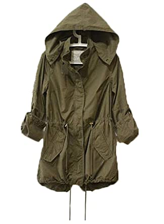 Womens Hoodie Drawstring Army Green Military Trench Parka Jacket ... 3b261d3ff