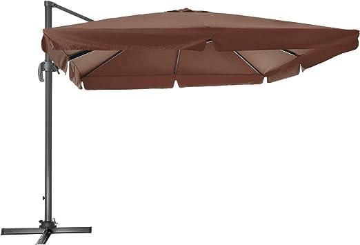 TecTake 800661 - Parasol Excéntrico, Sombrilla de Jardín, Aluminio, Protección Solar UV 50+, 3x3 m (Marrón | No.402993): Amazon.es: Jardín