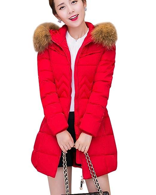 Mujer Invierno Largos Abrigos Calidez Parkas Chaquetones Con Capucha Plumon Rojo XL: Amazon.es: Ropa y accesorios