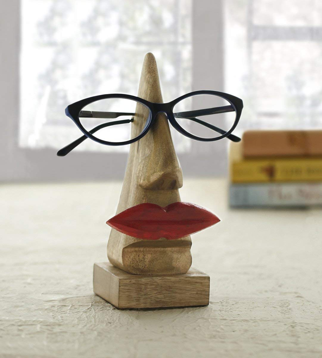 Quirky Wooden Nose Shaped Eyeglass Spectacle Holder Display Stand Home Decorative Store Indya Gifts