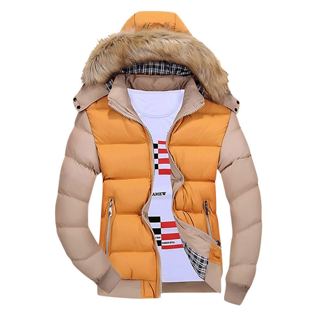 VZEXA MensOutwear Winter Warm Hooded Jacket Zipped Contrast Color Long Sleeve Coat (Yellow,M) by VZEXA