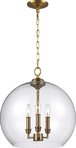 Feiss F3155 3BBS Lawler Glass Multi Light Pendant, Brass, 3-Light 16 Dia x 17 H 180watts