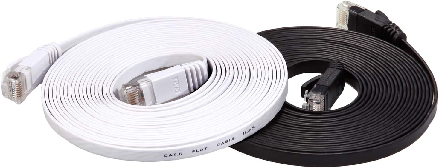 Cat6 Ethernet Patch Cable Short Cat 6 Ethernet Cable 15ft Cat6 Computer Cable with Snagless RJ45 Connectors Flat Internet Network Cable at a Cat5e Price but Higher Bandwidth White