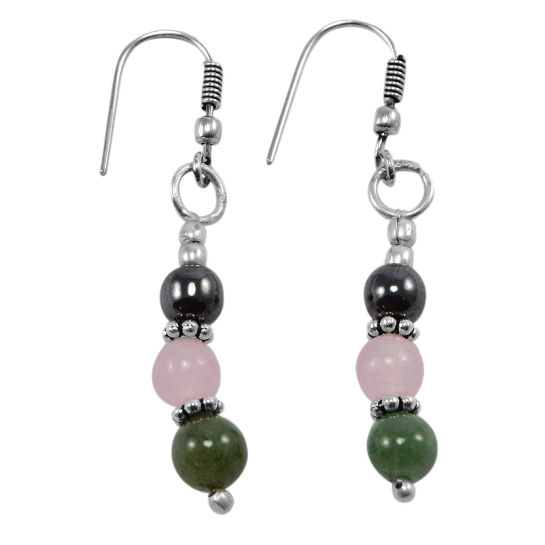 Jade /& Hematite Gemstone 925 Silver Plated Dangle Earring PG-130799 Silvestoo Jaipur Rose Crystal