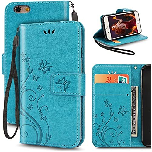 Samsung Galaxy S7 Butterfly Card Slot Case-Aurora Blue PU Leather Soft Smooth Floral Wallet Kickstand Case for Sales