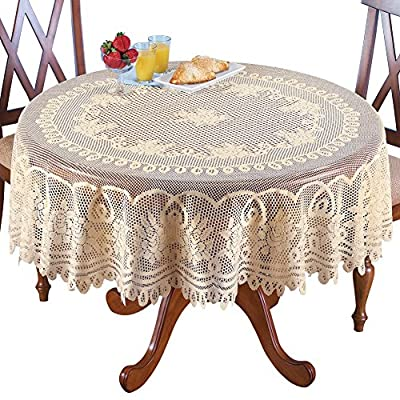 """Collections Etc Crochet Lace Floral Tablecloth - Dining Room Accent, Layer Linens or Use on Its Own, Cream, 70"""" Round - Tablecloth features beautiful floral details along with an intricate lace design Stunning on its own, or you can layered it over a colored tablecloth (sold separately) to change the look Made from 100% polyester - tablecloths, kitchen-dining-room-table-linens, kitchen-dining-room - 61WhOXQcCYL. SS400  -"""