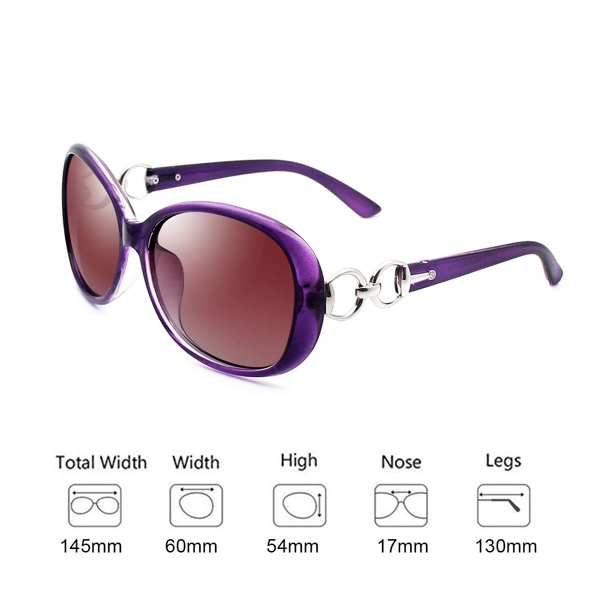 VeBrellen Luxury Women Polarized Sunglasses Retro Eyewear Oversized Goggles Eyeglasses