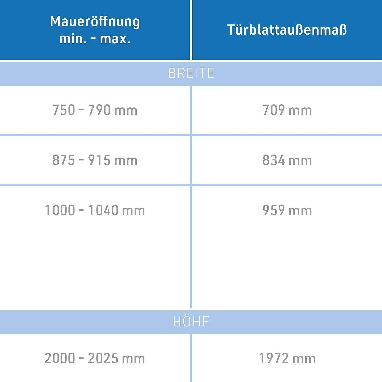 Zarge und T/ürgriff I satinierte Milchglas Dreh-T/ür aus 8 mm ESG Glas I DIN links I 1972 x 709 x 180 mm HORI/® Glast/ür Komplettset inkl
