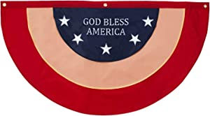 """48"""" x 24"""" God Bless America Patriotic Nylon Flag Decor w/Grommets- Embroidered Stars and Lettering- July 4th American Flag for Outdoor Use- Americana Outside Porch, Rail Window Decoration (4x2 feet)"""