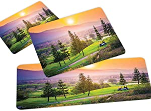 Farm House Decor 3D Non-Slip Kitchen Mat Runner Rug Set,3pc Kitchen Rug Set,Vibrant Golf Resort Park in Spring Season with Trees Sunset Hills and Valley,for Entryway Kitchen and Bedroom,Multi