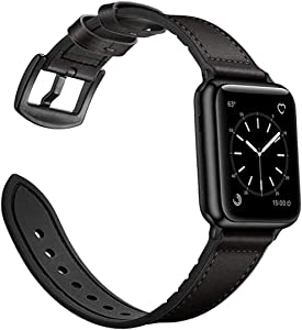 Full Grain Leather Bands Compatible with Apple Watch 38mm 40mm 42mm 44mm , Leather Strap Replacement Wristband for iWatch Series 5/4/3/2/1(Black, 38/40mm)