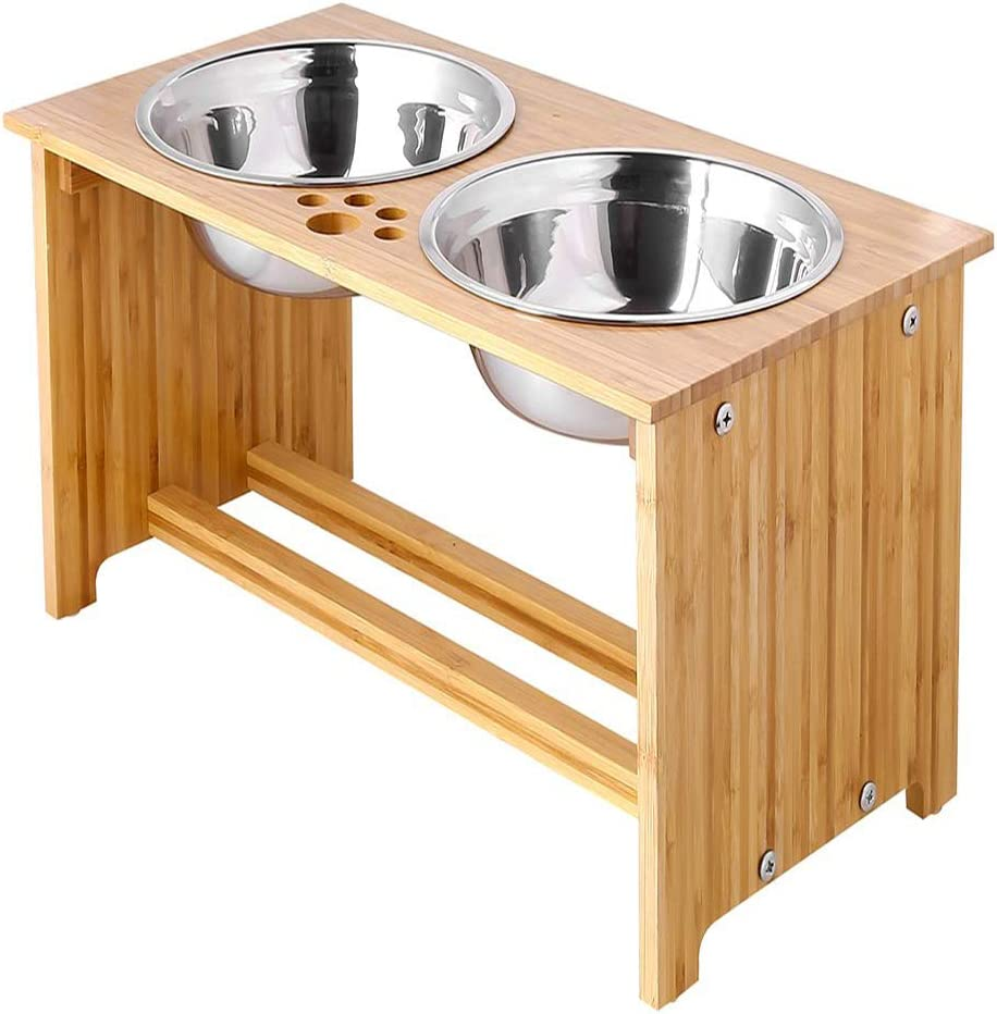 FOREYY Raised Pet Bowls for Cats and Small Dogs, Bamboo Elevated Dog Cat Food and Water Bowls Stand Feeder with 2 Stainless Steel Bowls and Anti Slip Feet (15'' Tall-65 oz Bowl)