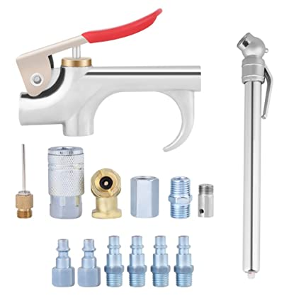 14Pcs Alloy Air Blow Dust Gun Set Air Compressor Lever Blower Tool Kit with Interchangeable Inflating Nozzles Air Tool Accessory Set - - Amazon.com