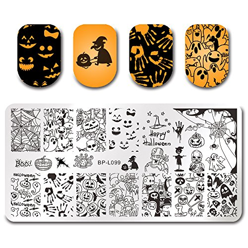BORN PRETTY Nail Art Stamping Plate Halloween Pumpkin Ghost Skull manicuring Print Template Image Plate