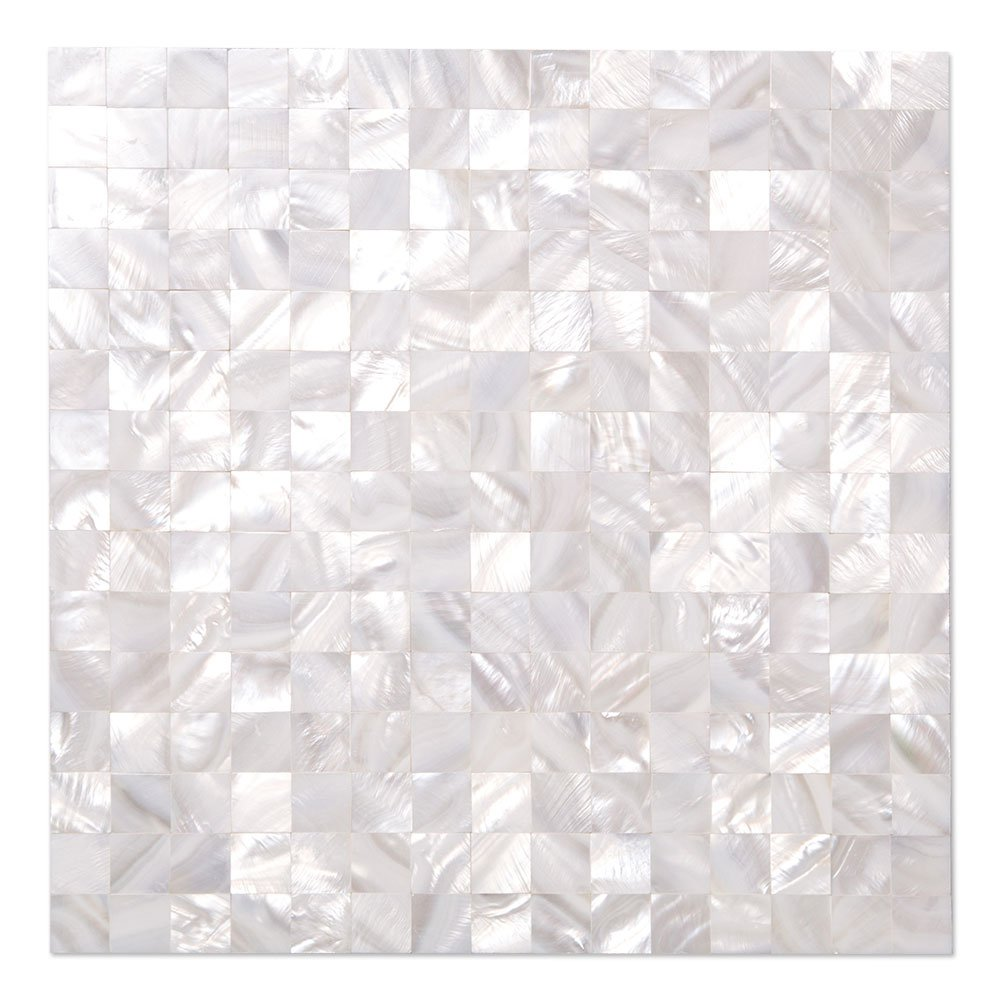 Diflart White Seamless Mother of Pearl Square Tiles Pearl Shell Mosaic Backsplash Pack of 10 by Diflart