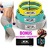 Booty Builder Bands | Set of 3 Hip Band for Women & Men | Thick Fabric Resistance Bands for Legs and Butt | Full Body Workout Exercise for All Fitness Levels | No Gym Needed | Workout Video