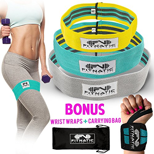 Booty Builder Bands | Set of 3 Hip Band for Women & Men | Thick Fabric Resistance Bands for Legs and Butt | Full Body Workout Exercise for All Fitness Levels | No Gym Needed | Wrist Wraps