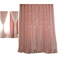 Star Blockout Blackout Curtains 2 Layers Eyelet Pure Fabric Room Darkening, Made in High Quality Dacron and Chiffon, Modern Style,Unlined Panels