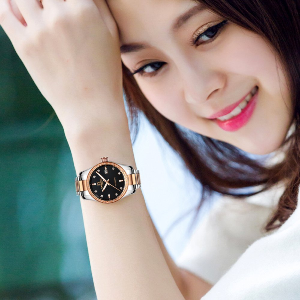 CARNIVAL Couple Watches Men and Women Automatic Mechanical Watch Fashion Chic for Her or His Set of 2 (Rose Gold Black) by Carnival (Image #8)