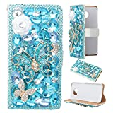Spritech(TM) 3D Handmade Pure White Crystal Flower Blue Butterfly Diamond Design Leather Wallet Caver Case for Samsung Galaxy S6 Edge Plus