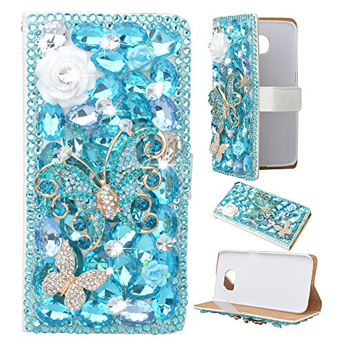 Spritech(TM) LG Optimus L90 Wallet Case-3D Handmade Pure White Crystal Flower Blue Butterfly Diamond Design Leather Wallet White