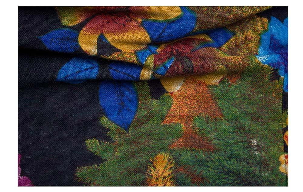 YANJK Mens Shirt Cotton Long Sleeve Flower Shirt Casual Fashion Slim Print Shirt
