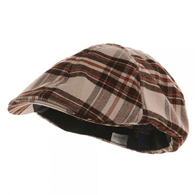 ae13be56837 Image Unavailable. Image not available for. Color  Khaki Brown Plaid Ivy  Newsboy Cabbie Golf Cap