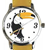 """Save Our Wildlife"" Large Polished Chrome Watch with Yellow Strap has a ""Toucan"" image and Donation to the African Wildlife Foundation"