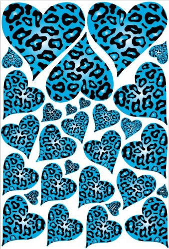 Blue Leopard Cheetah Print Hearts Wall Stickers Decals Part 36
