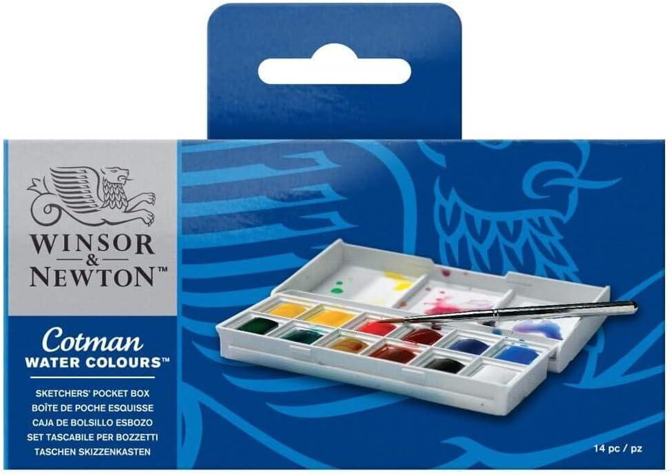 Winsor & Newton Sketcher Cotman Caja plástica de acuarela, 12 medio Godet: Amazon.es: Oficina y papelería