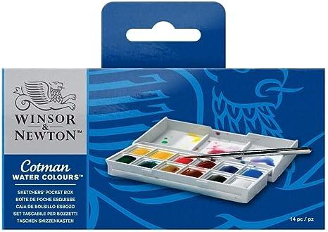 Winsor /& Newton Cotman Water Color Pocket PLUS Set of 12 Half Pans ~ NEW