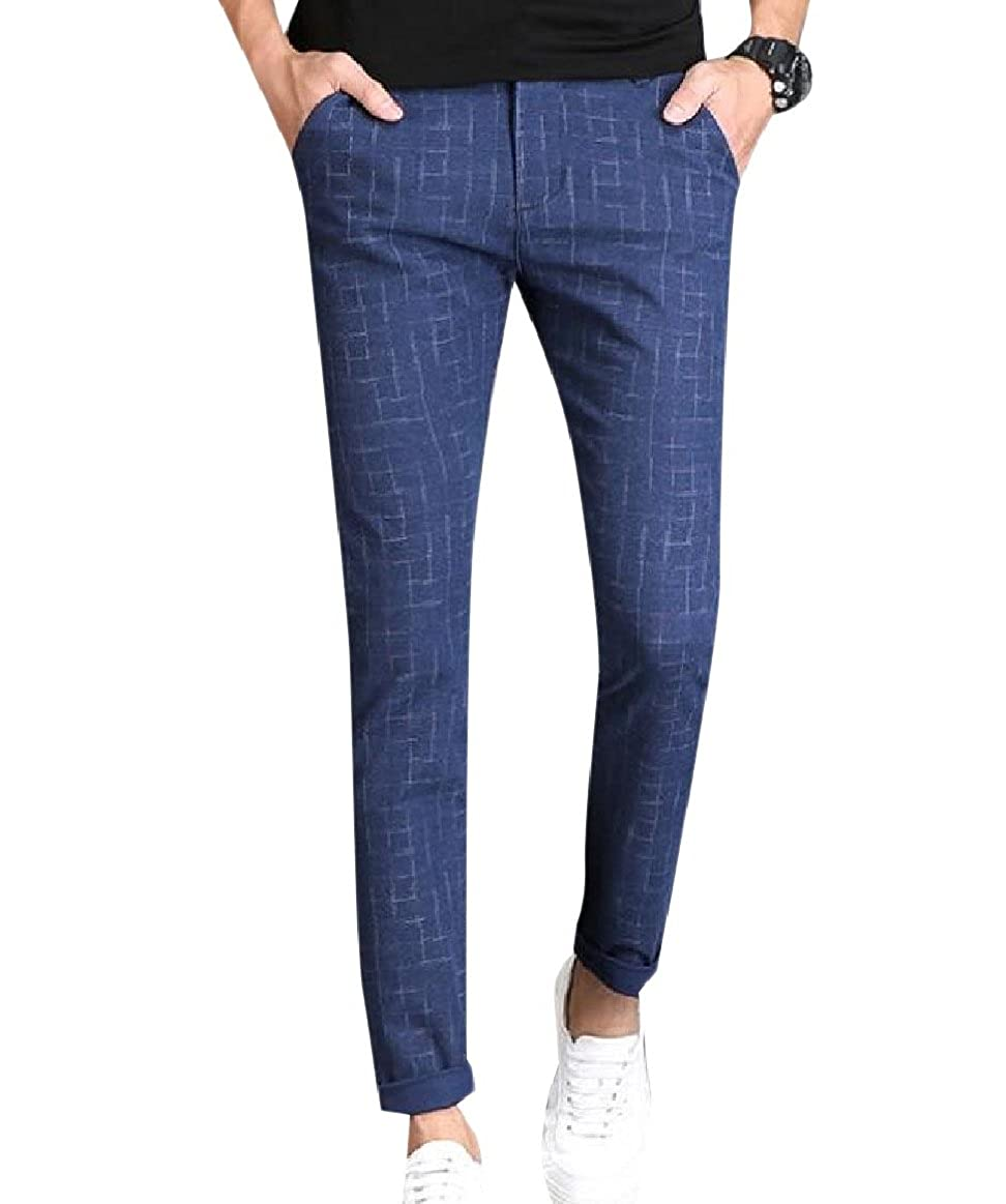 SportsX Mens Straight Leg Plaid Cotton Business with Pockets Casual Pants