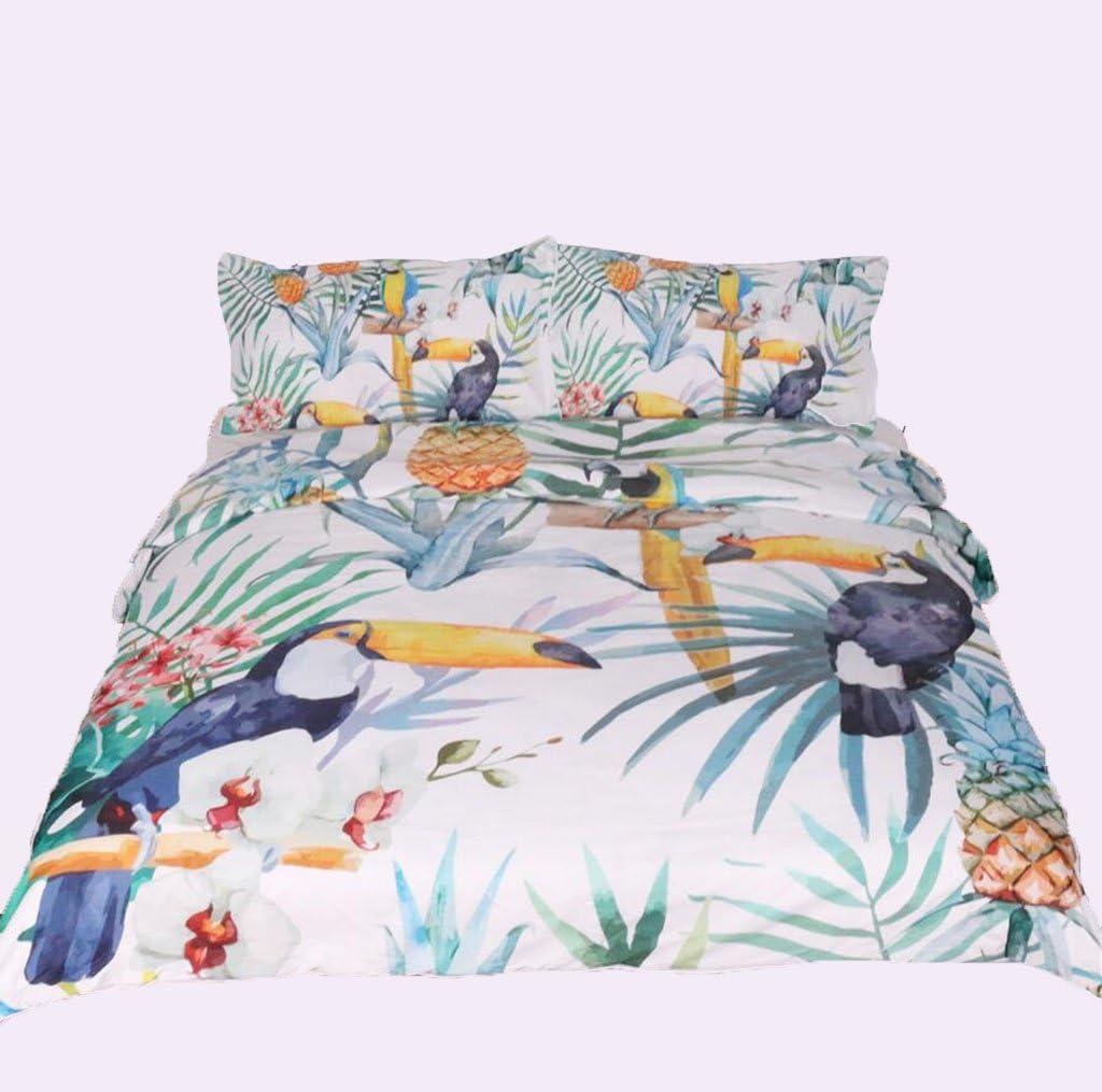 3D効果完全な寝具セット羽毛カバー鳥の花の白と緑の枕キルト通気性(シングルダブルクイーンキング)3つの作品,220*240Cm