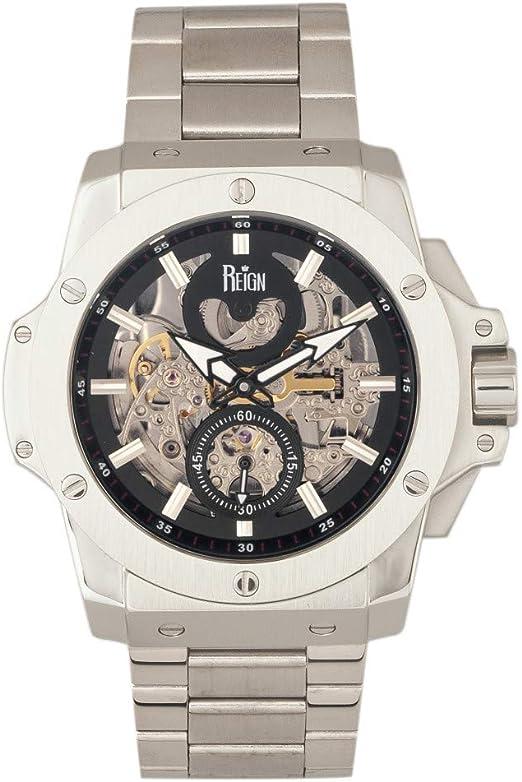 Reign - orologio automatico con cinturino in pelle, quadrante scheletrato, commodus REIRN4007