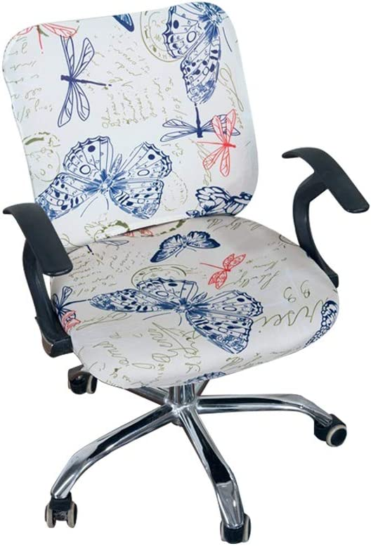 Iseedy Office Desk Rotating Chair Seat Covers Universal Stretch Spandex Computer Chair Covers (Colorful Butterfly)
