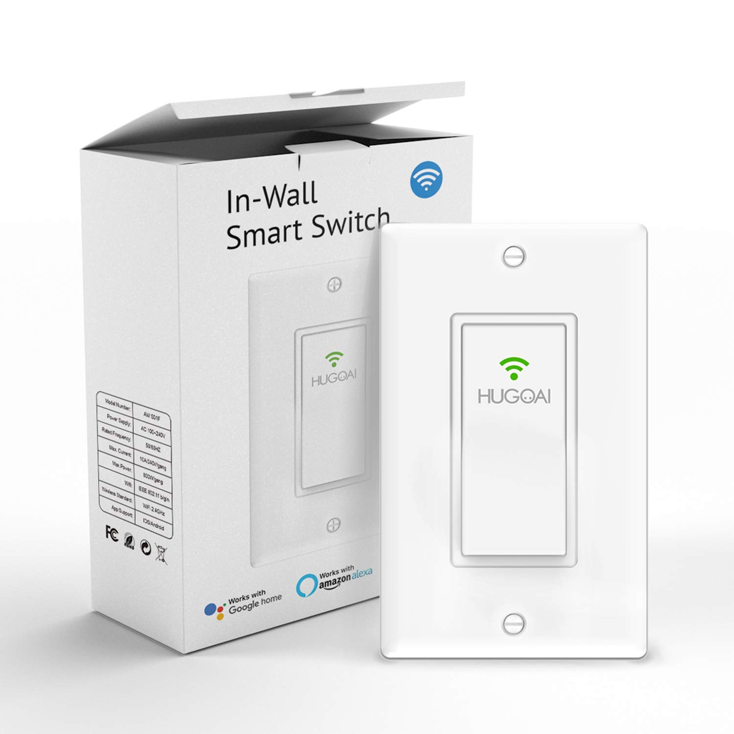 Smart Light Switch, HUGOAI Wi-Fi Smart Light Switch with Timer and Remote  Control, Voice Control With Alexa, Google Home and IFTTT, Easy and Safe