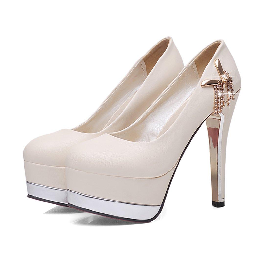 24d24953599d UH Damen Stiletto High Heels Geschlossen Plateau Pumps mit Strass Elegante Party  Schuhe - associate-degree.de