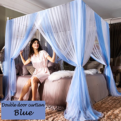 Taiyucover 2018 New Bedding Double Mesh Mosquito Net design for Four Corners Priceness Thicken Bed Canopy for Baby Kids Children Sheeping (Blue, California King)