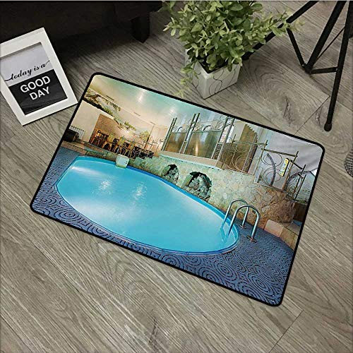 (Hall mat W19 x L31 INCH Modern,Vivid Blue Swimming Pool in Spa Interior Resort Relaxation and Theraphy Theme,Blue Aqua Beige Our Bottom is Non-Slip and Will not let The Baby Slip,Door Mat Carpet)