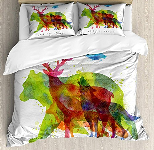 Queen Size Animal 3 PCS Duvet Cover Set, Alaska Wild Animals Bears Wolfs Eagles Deers in Abstract Colored Shadow Like Print, Bedding Set Bedspread for Children/Teens/Adults/Kids, Multicolor