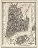 vintage nyc map - 1844 New York City Map Art Print - 11x14 Unframed Art Print - Great Vintage Home Decor