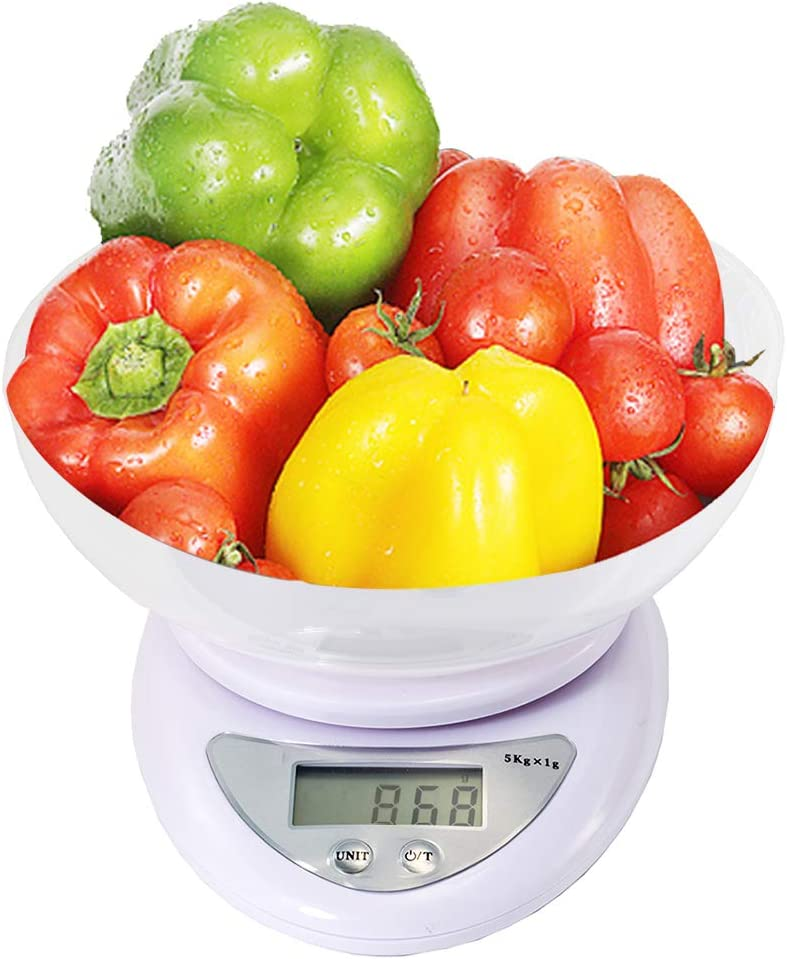 iMeshbean 5kg × 1 g Digital Kitchen Scale Diet Food Compact Kitchen Scale with Removable Bowl,3 Modes g/oz/lb M#07 USA
