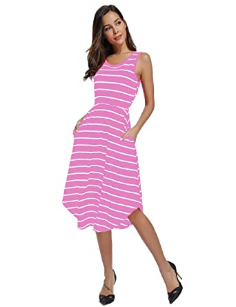 a99650d5d32a3 INWECH Women's Casual Elastic Waist Pleated Striped Dress Summer Sleeveless  Midi Dress with Pockets (Small