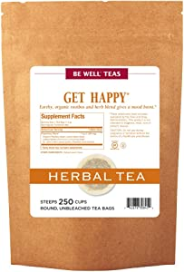 The Republic of Tea Be Well Teas No. 13, Get Happy Herbal Tea For Lifting Your Spirits, Refill Pack of 250 Tea Bags