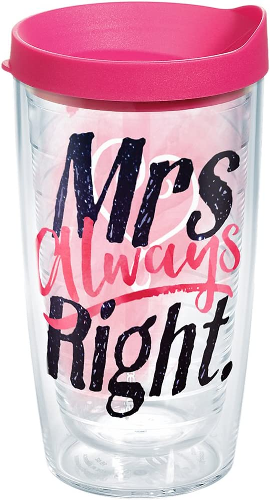 Clear Always Right Heart Tumbler with Wrap and Passion Pink Lid 24oz Water Bottle Tervis 1243907 Mrs