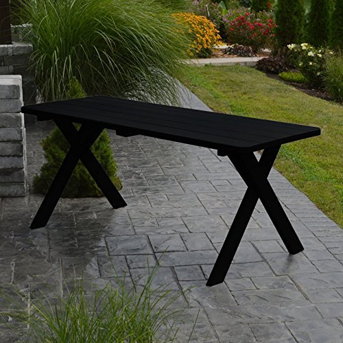 A & L Furniture Yellow Pine Cross Legged Picnic Table with 2'' Umbrella Hole, 4', Coffee by A&L Furniture Co. (Image #1)