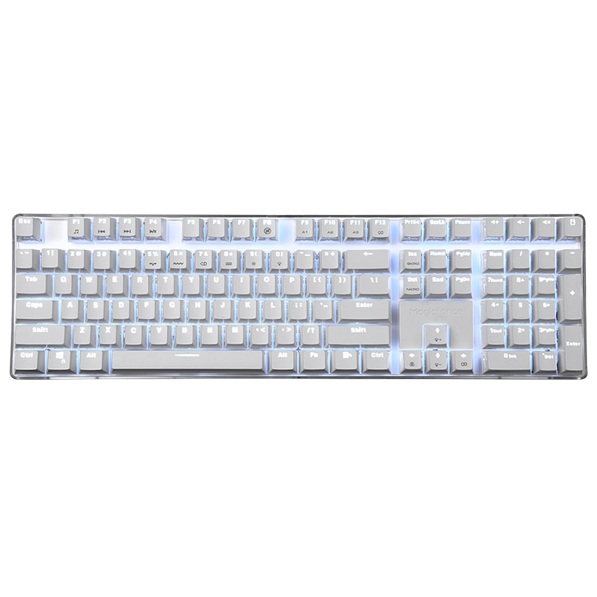 Happy Deals 20 Off Qisan Mechanical Keyboard Wired Gaming Keyboard Red Switch 100 Full Size 108 Keys GATERON Switch with White Backlight Case White Magicforce