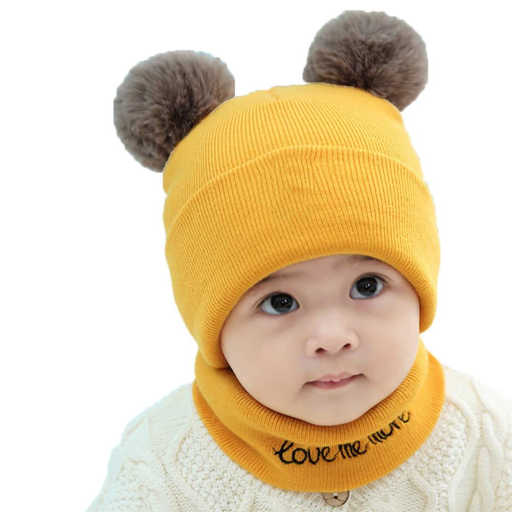 Kit 2pcs / Set del bebé Sombrero Hecho Punto Bufanda Set Boys Niños del Calentador del Cuello de Pom Pom Ganchillo Beanie Cap Sombreros Bufanda (Amarillo) Romote