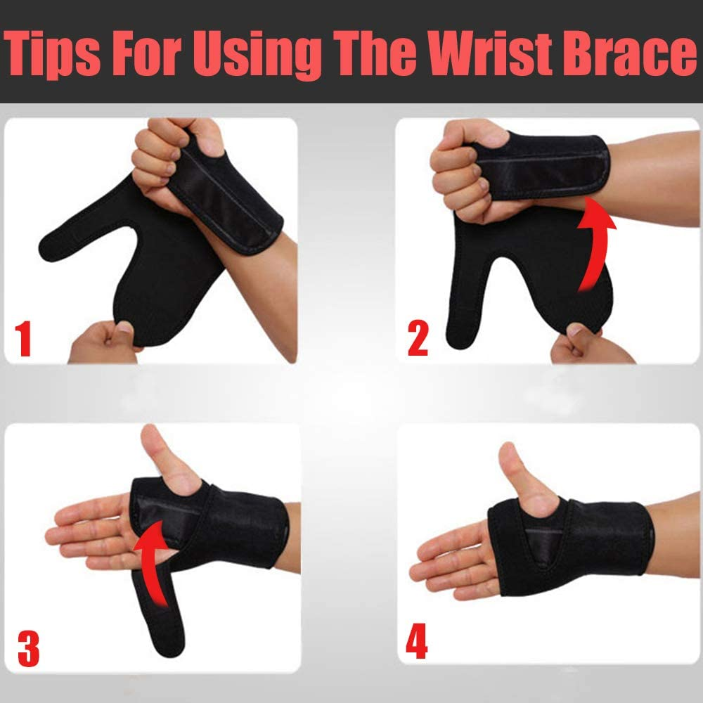 Right or Left Hand One Piece Sprains Strains KIWI RATA Wrist Hand Palm Brace Support with Metal Removable Splint Stabilizer and Edged Thumb Hole for Tendonitis Carpal Tunnel Syndrome Arthritis